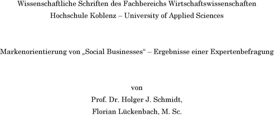 Applied Sciences Markenorientierung von Social Businesses