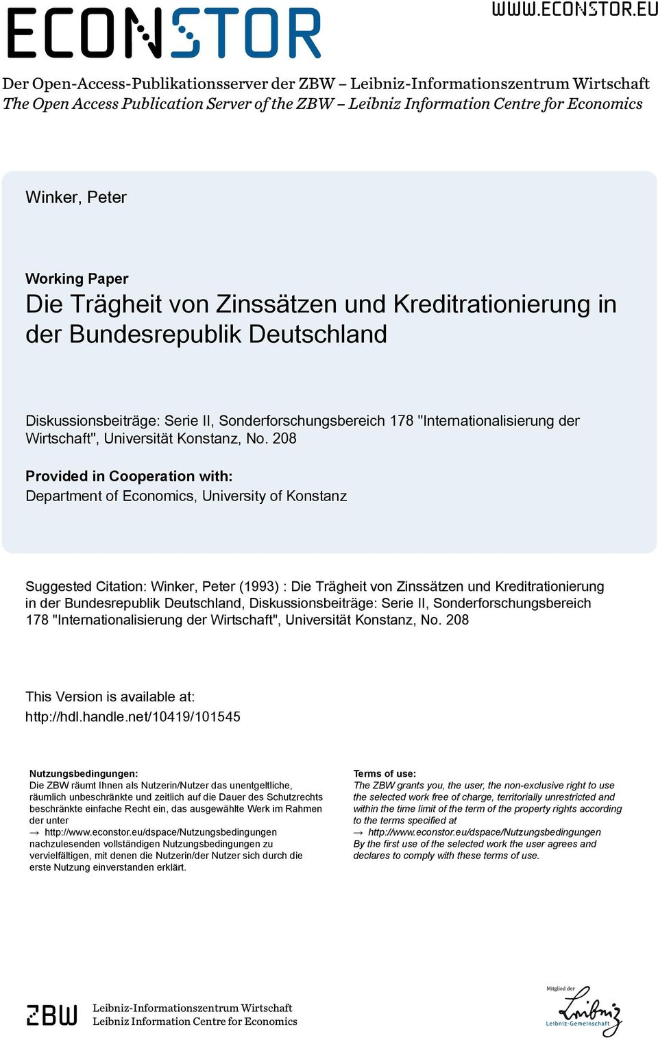 eu Der Open-Access-Publikationsserver der ZBW Leibniz-Informationszentrum Wirtschaft The Open Access Publication Server of the ZBW Leibniz Information Centre for Economics Winker, Peter Working Paper