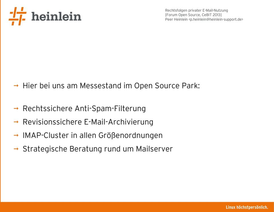 Revisionssichere E-Mail-Archivierung IMAP-Cluster