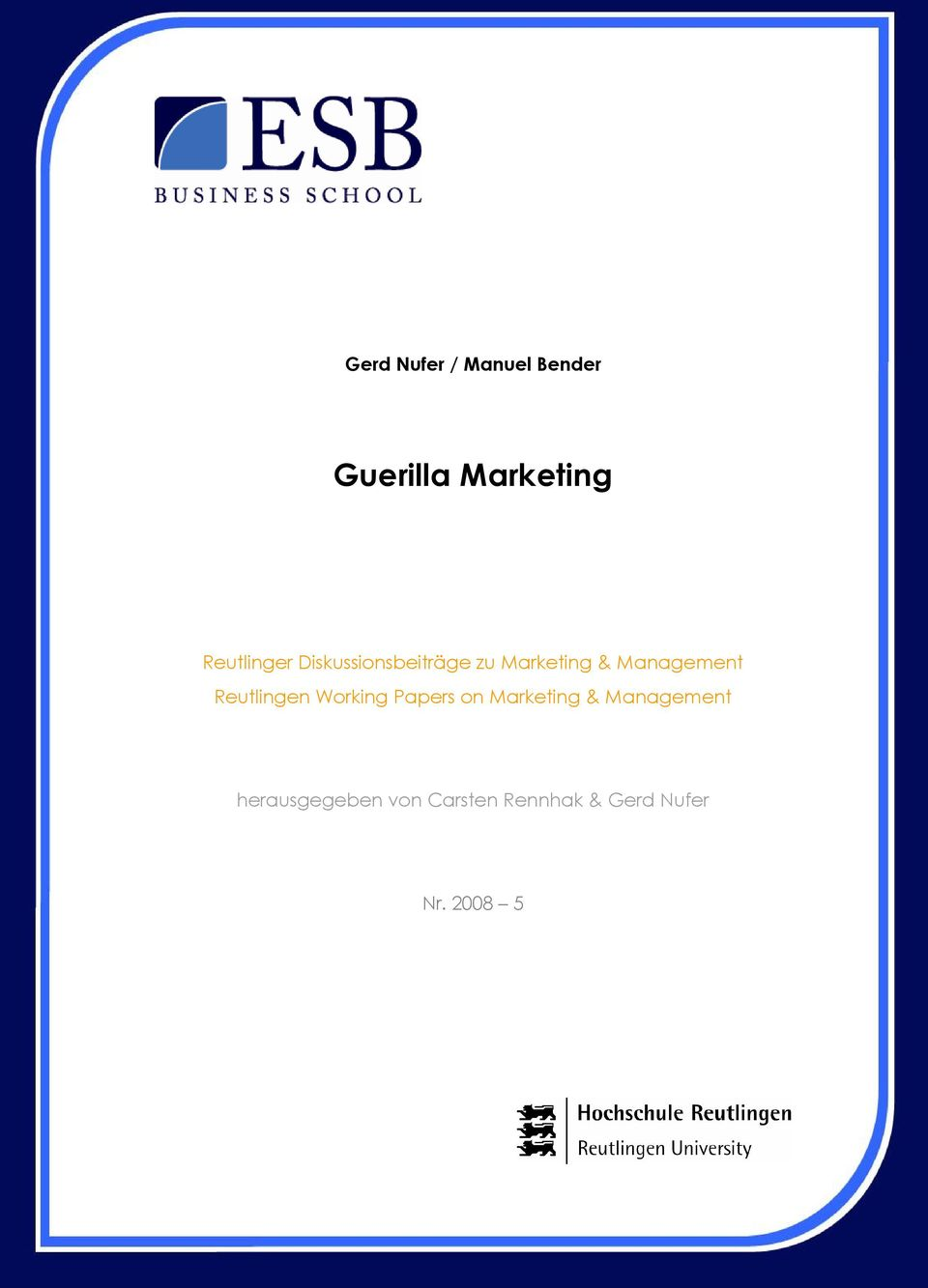 Management Reutlingen Working Papers on Marketing &