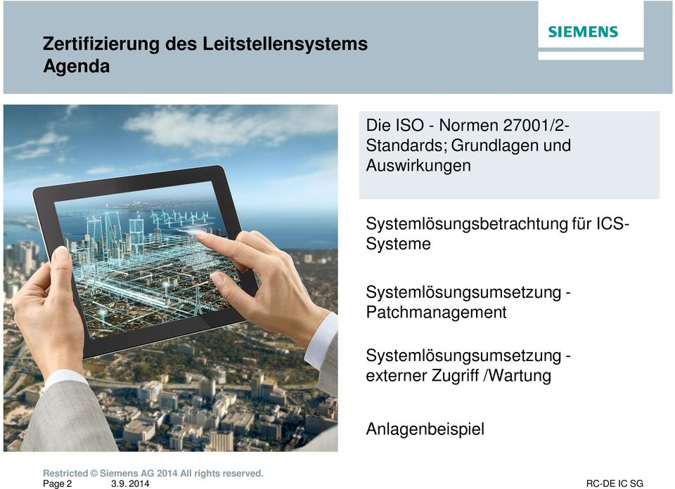 ICS- Systeme Systemlösungsumsetzung - Patchmanagement