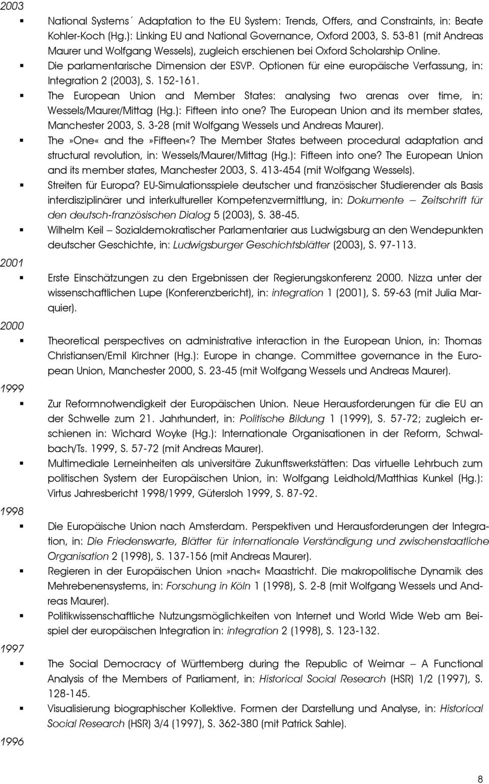 Optionen für eine europäische Verfassung, in: Integration 2 (2003), S. 152-161. The European Union and Member States: analysing two arenas over time, in: Wessels/Maurer/Mittag (Hg.): Fifteen into one?
