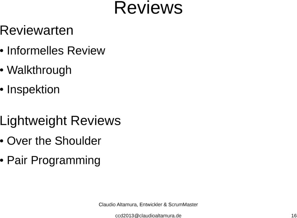 Lightweight Reviews Over the
