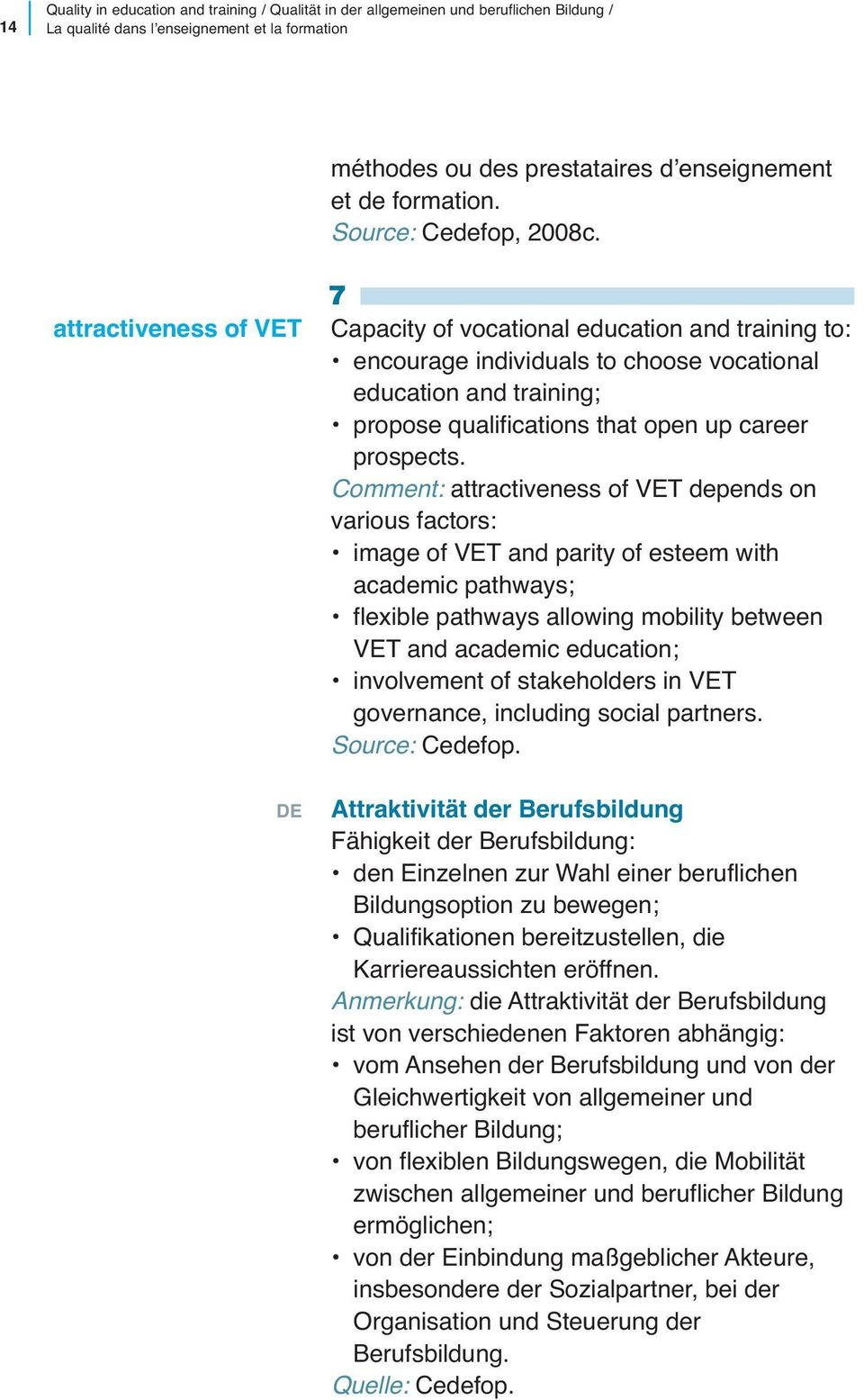 attractiveness of VET 7 Capacity of vocational education and training to: encourage individuals to choose vocational education and training; propose qualifications that open up career prospects.