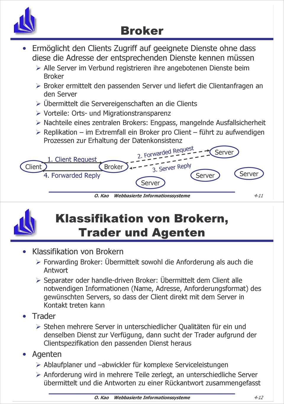 Ausfallsicherheit Replikation im Extremfall ein Broker pro führt zu aufwendigen Prozessen zur Erhaltung der Datenkonsistenz 1. Request 4. Forwarded Reply Broker 2. Forwarded Request 3. Reply O.