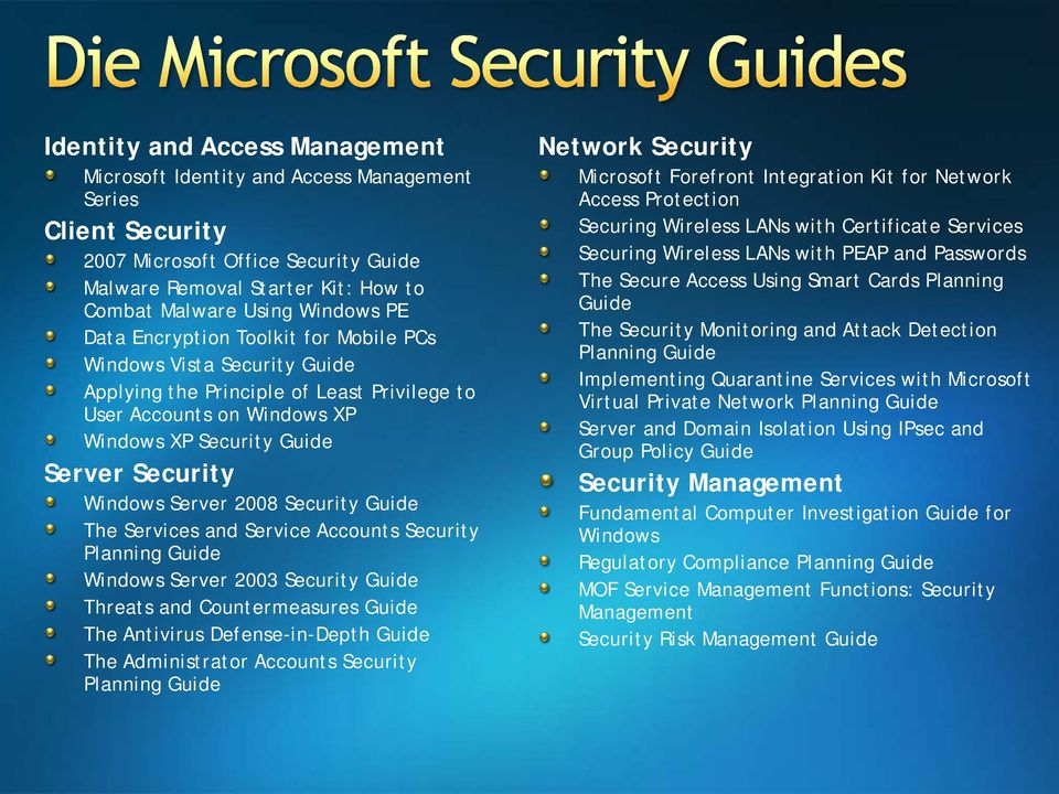 2008 Security Guide The Services and Service Accounts Security Planning Guide Windows Server 2003 Security Guide Threats and Countermeasures Guide The Antivirus Defense-in-Depth Guide The
