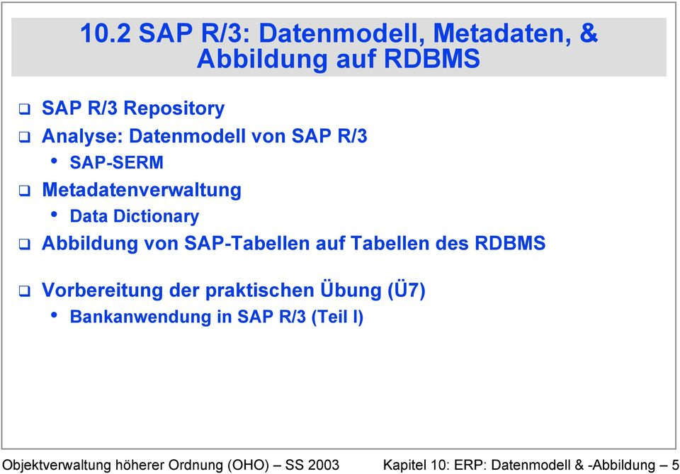 Analyse: Datenmodell von SAP R/3 SAP-SERM Metadatenverwaltung Data Dictionary