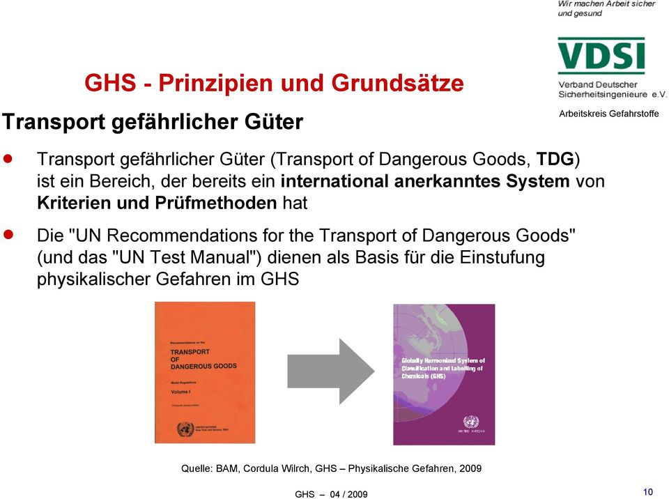 "Prüfmethoden hat Die ""UN Recommendations for the Transport of Dangerous Goods"" (und das ""UN Test Manual"")"