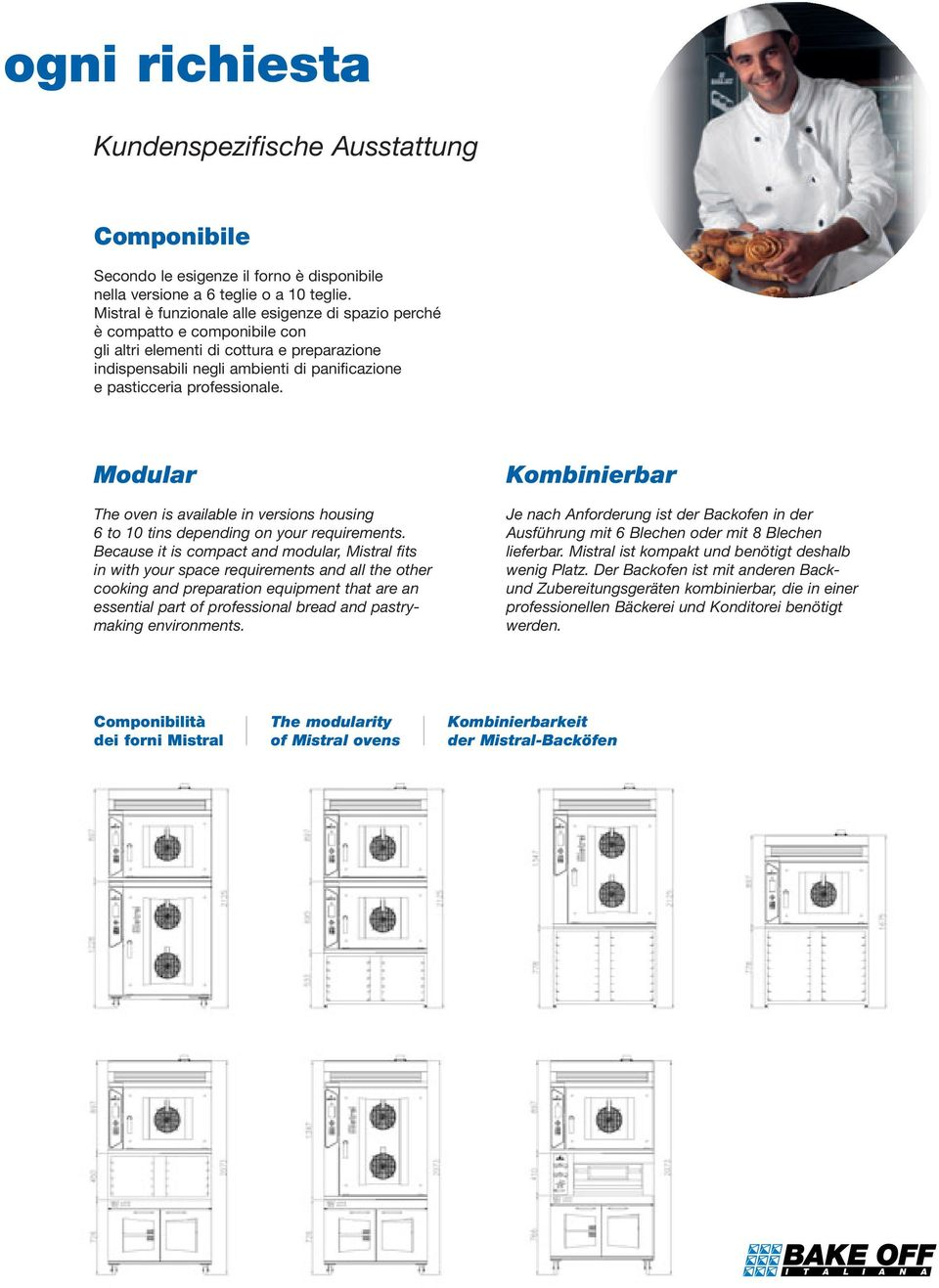 professionale. Modular The oven is available in versions housing 6 to 10 tins depending on your requirements.