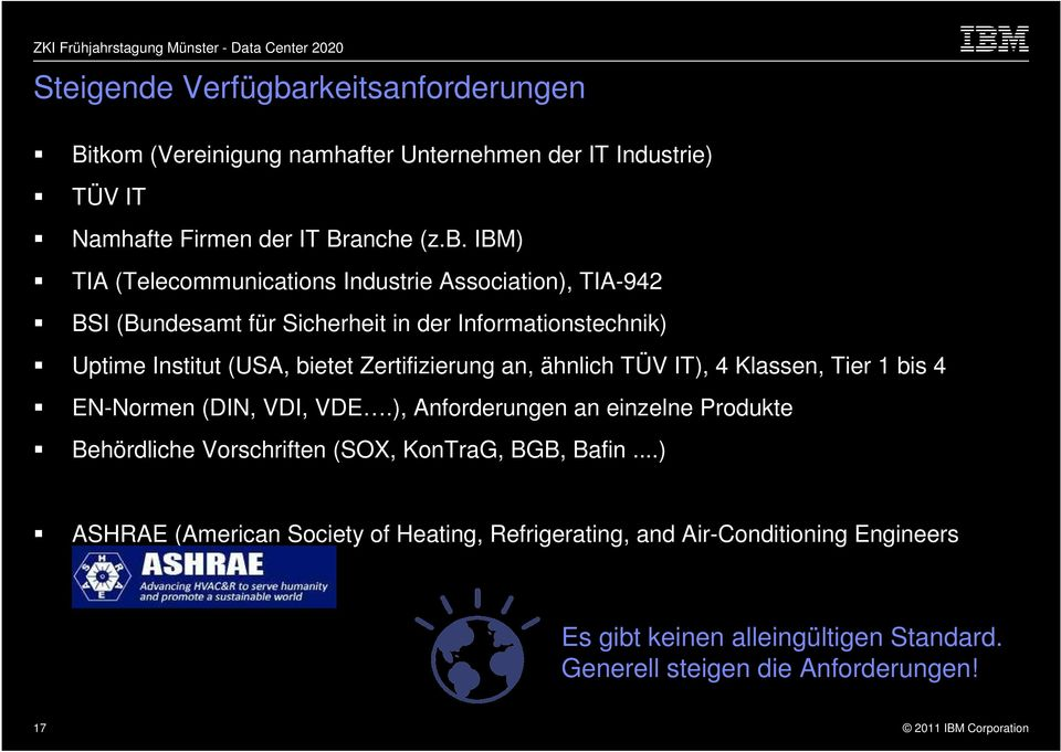 IBM) TIA (Telecommunications Industrie Association), TIA-942 BSI (Bundesamt für Sicherheit in der Informationstechnik) Uptime Institut (USA, bietet