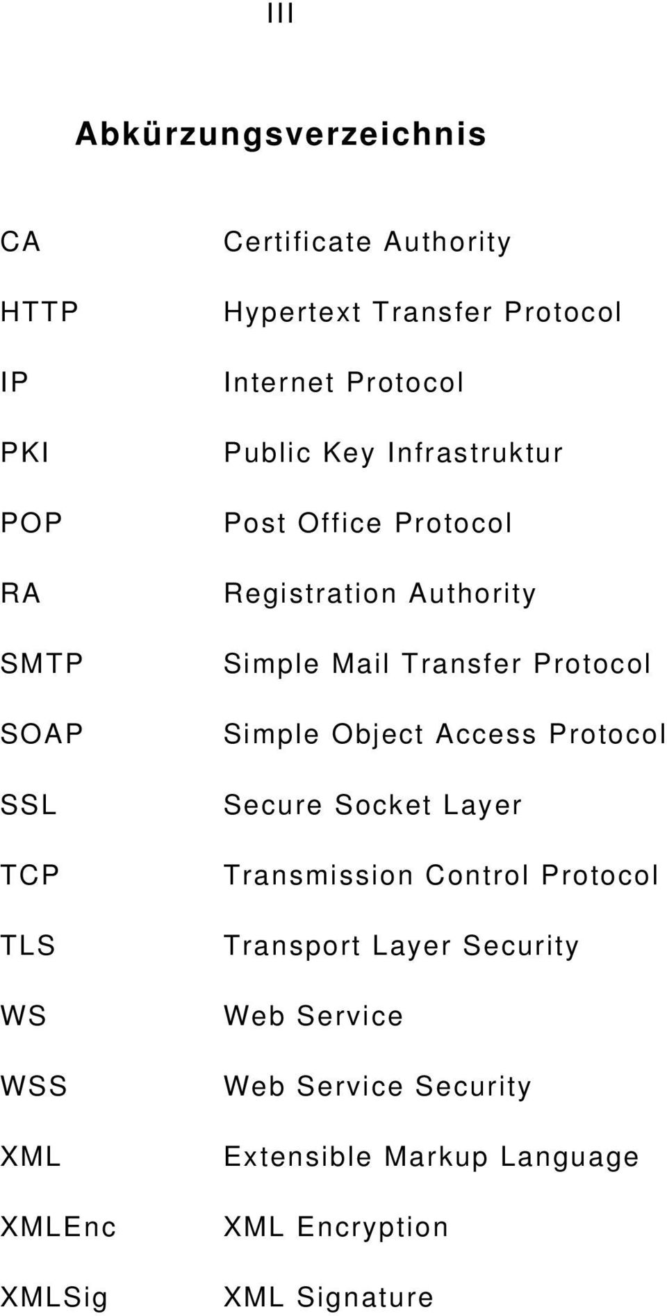 Registration Authority Simple Mail Transfer Protocol Simple Object Access Protocol Secure Socket Layer