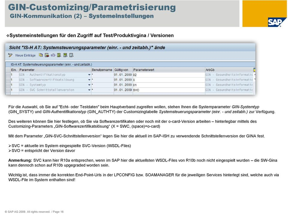 Des weiteren können Sie hier festlegen, ob Sie via Softwarezertifikaten oder noch mit der o-card-version arbeiten hinterlegbar mittels des Customizing-Parameters GIN-Softwarezertifikatslösung (X =