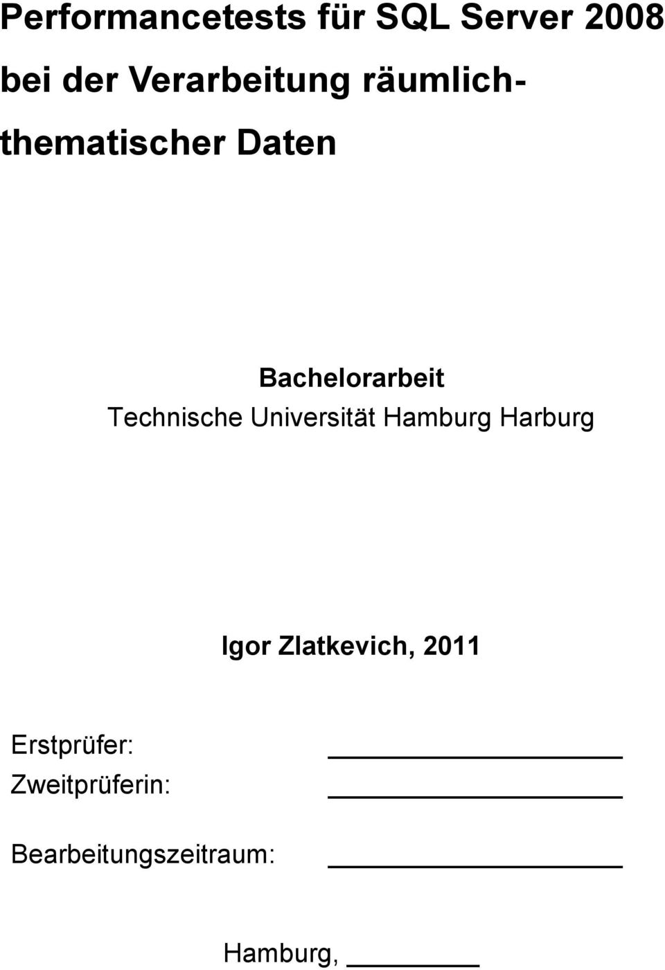 Technische Universität Hamburg Harburg Igor