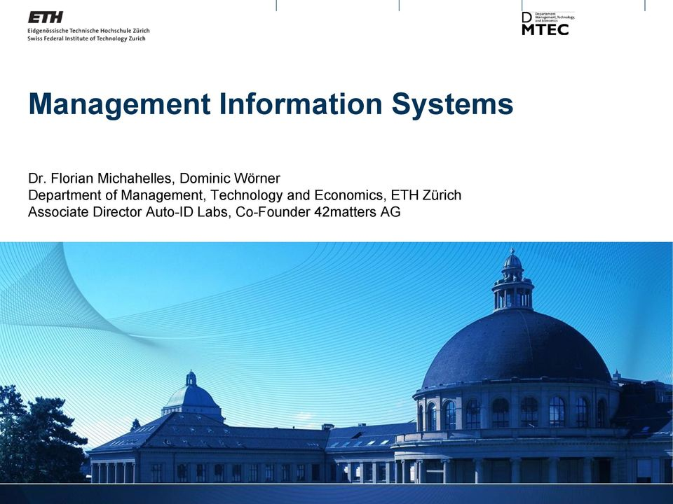 of Management, Technology and Economics, ETH