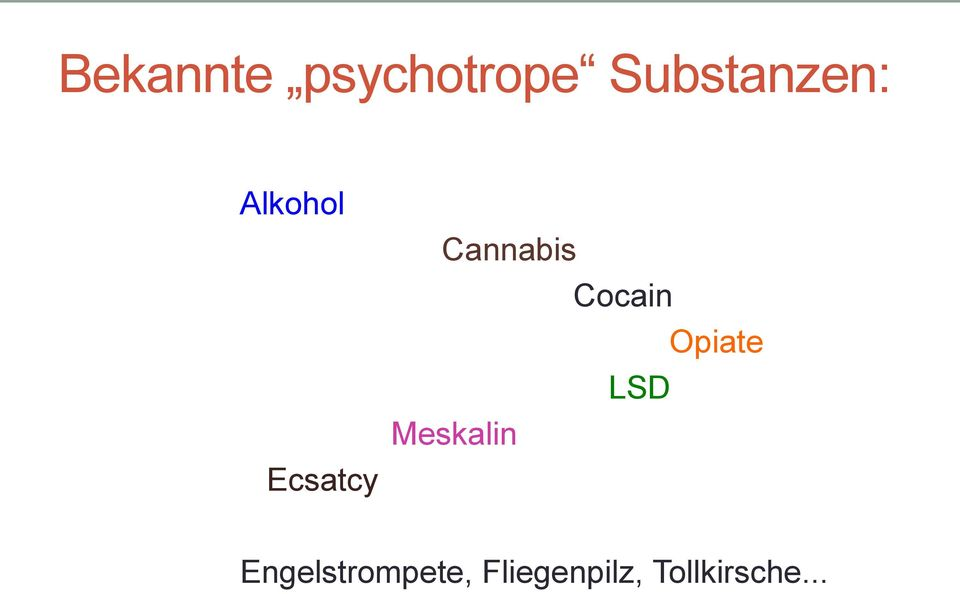 Cannabis Cocain Opiate LSD