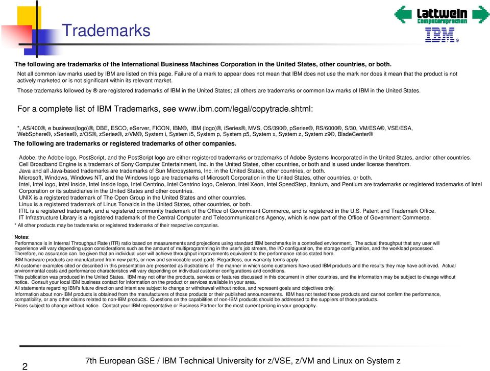 Those trademarks followed by are registered trademarks of IBM in the United States; all others are trademarks or common law marks of IBM in the United States.