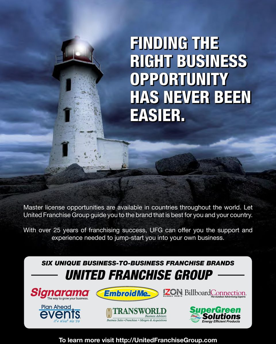 Let United Franchise Group guide you to the brand that is best for you and your country.