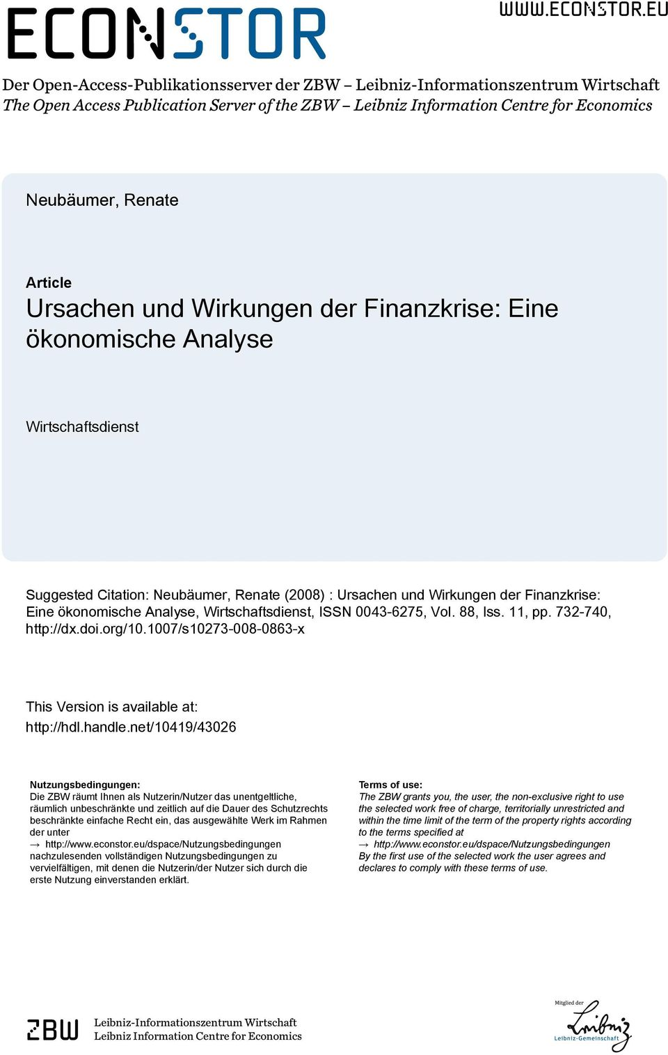 eu Der Open-Access-Publikationsserver der ZBW Leibniz-Informationszentrum Wirtschaft The Open Access Publication Server of the ZBW Leibniz Information Centre for Economics Neubäumer, Renate Article