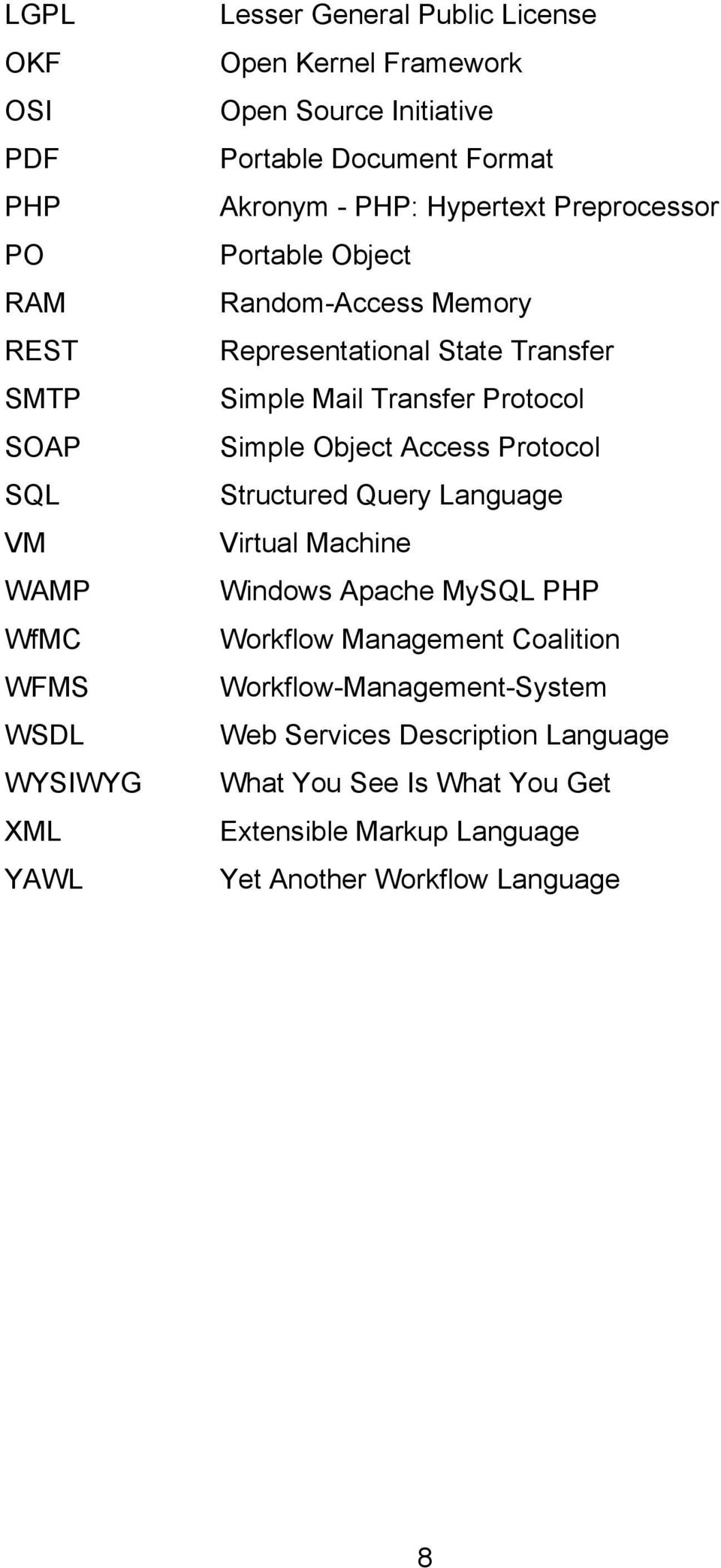 Simple Mail Transfer Protocol Simple Object Access Protocol Structured Query Language Virtual Machine Windows Apache MySQL PHP Workflow Management