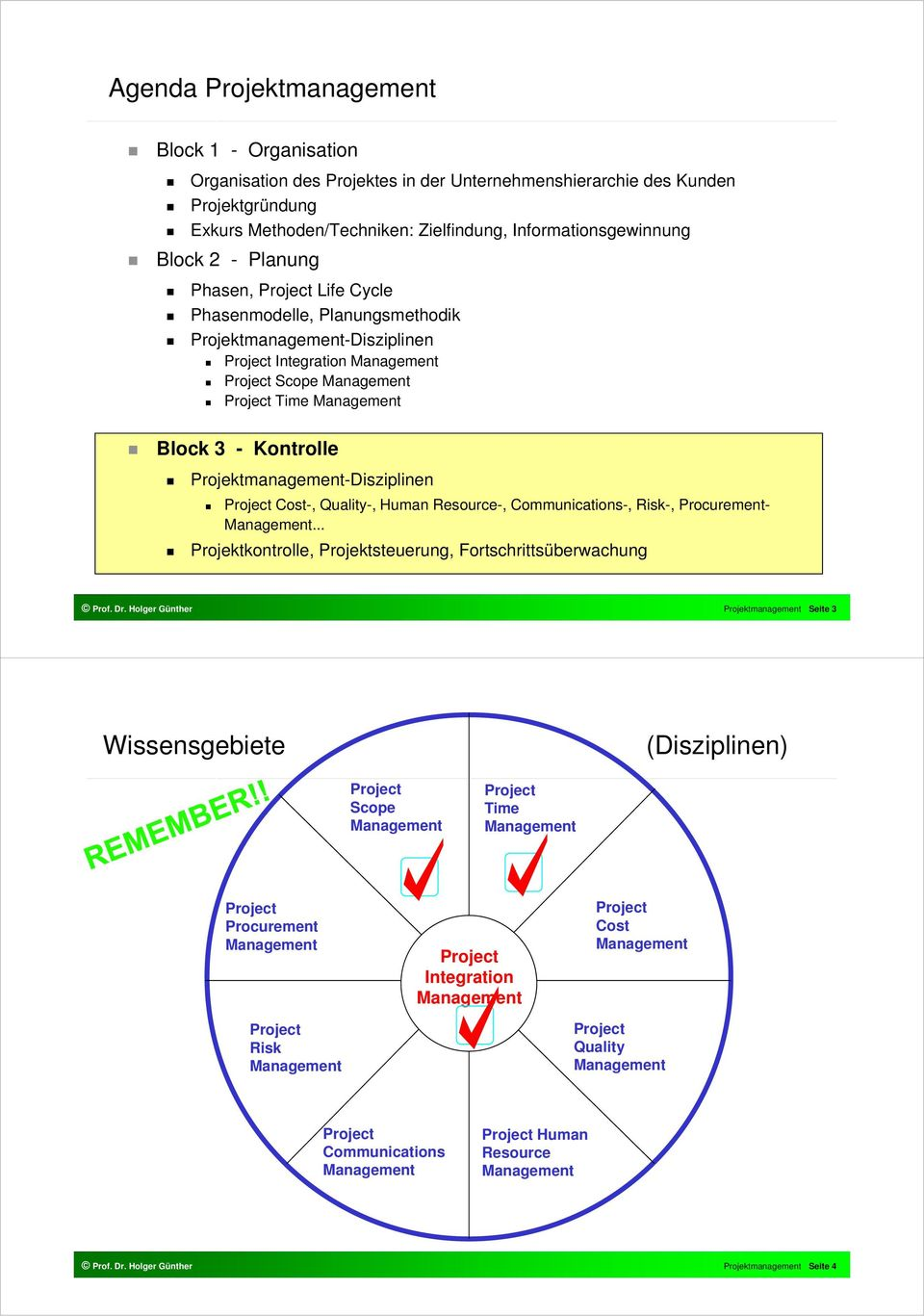 Kontrolle Projektmanagement-Disziplinen Project Cost-, Quality-, Human Resource-, Communications-, Risk-, Procurement- Management.
