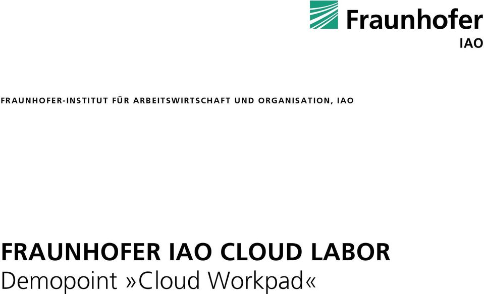 ORGANISATION, IAO FRAUNHOFER