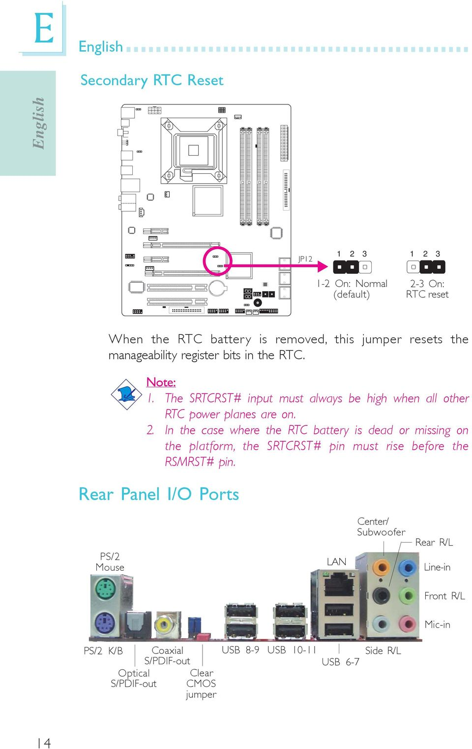 In the case where the RTC battery is dead or missing on the platform, the SRTCRST# pin must rise before the RSMRST# pin.