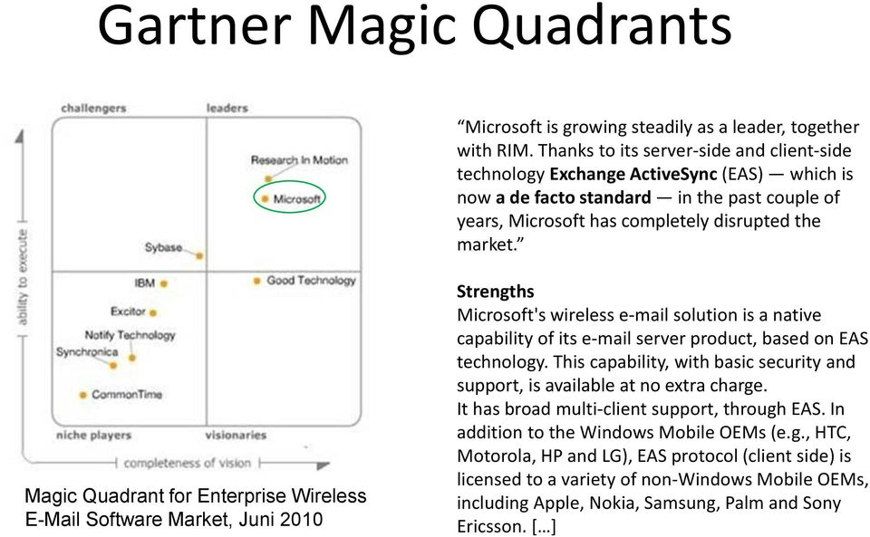 Magic Quadrant for Enterprise Wireless E-Mail Software Market, Juni 2010 Strengths Microsoft's wireless e-mail solution is a native capability of its e-mail server product, based on EAS technology.