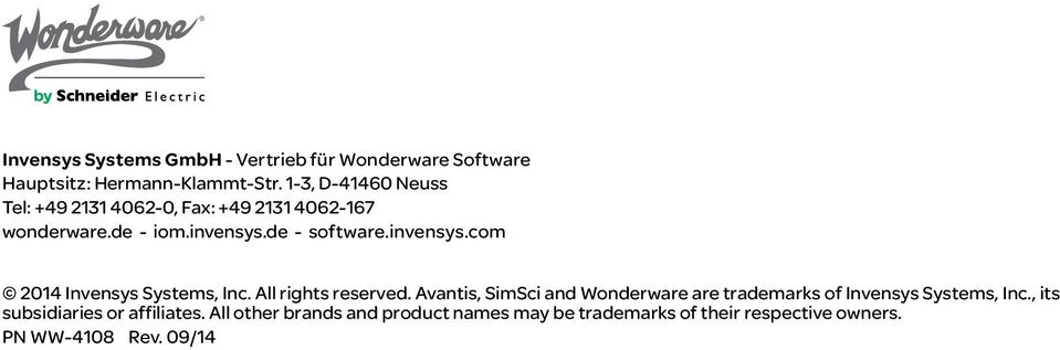 de - software.invensys.com 2014 Invensys Systems, Inc. All rights reserved.