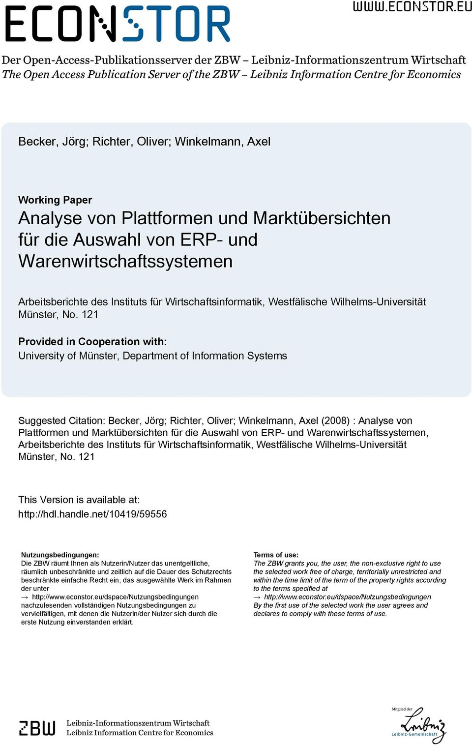 eu Der Open-Access-Publikationsserver der ZBW Leibniz-Informationszentrum Wirtschaft The Open Access Publication Server of the ZBW Leibniz Information Centre for Economics Becker, Jörg; Richter,