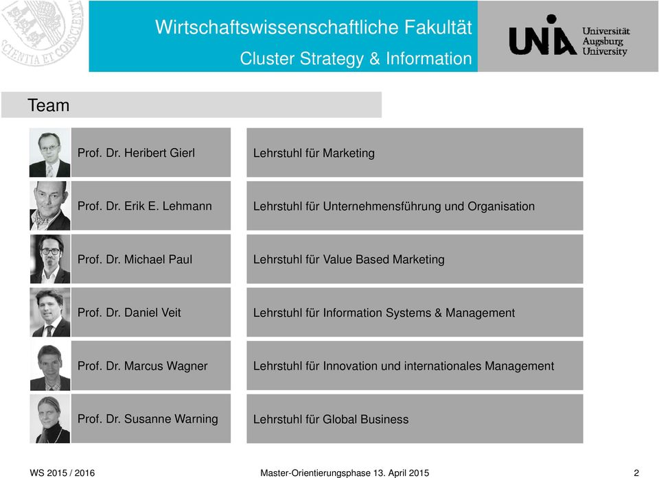 Michael Paul Lehrstuhl für Value Based Marketing Prof. Dr.