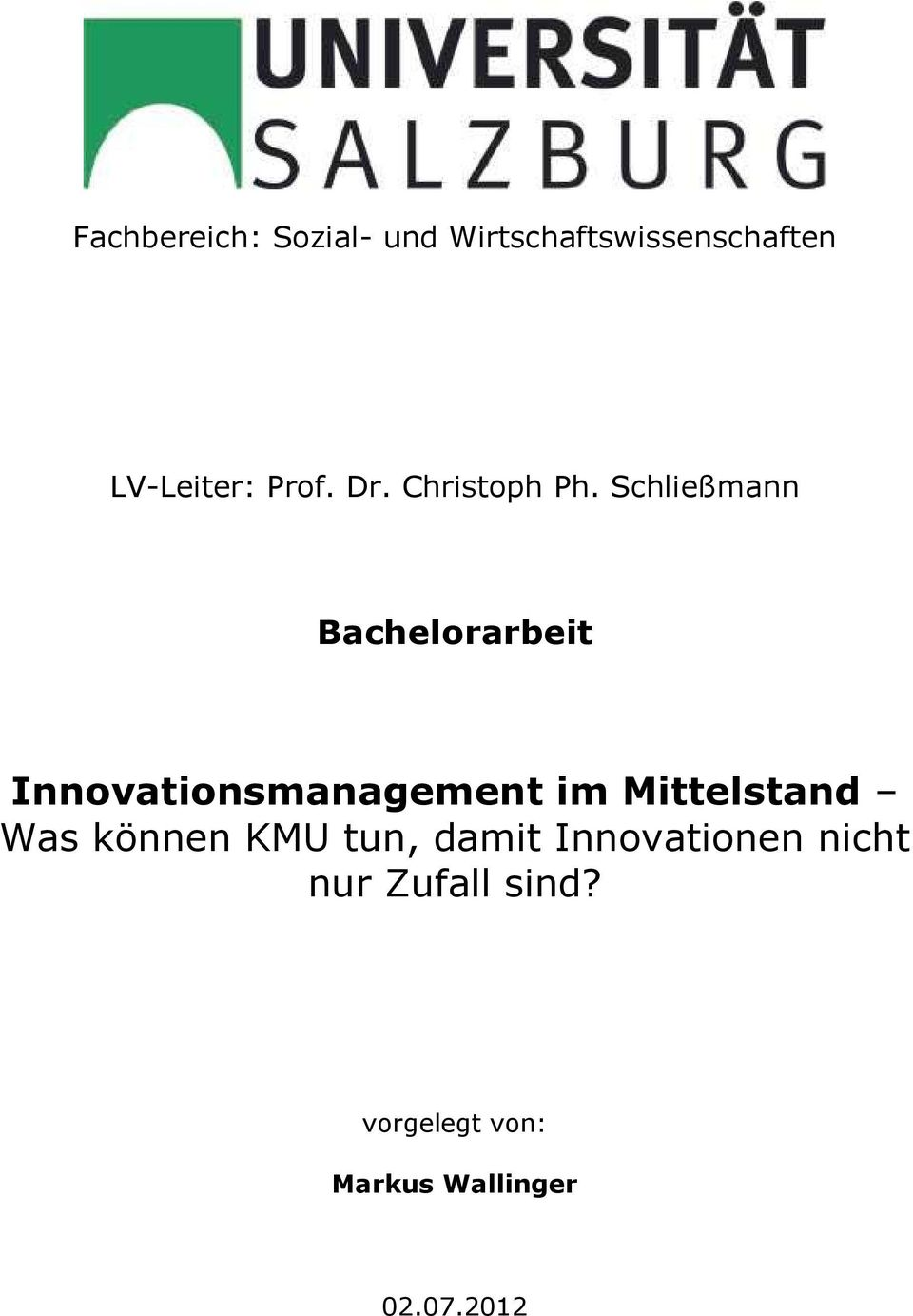 Schließmann Bachelorarbeit Innovationsmanagement im Mittelstand