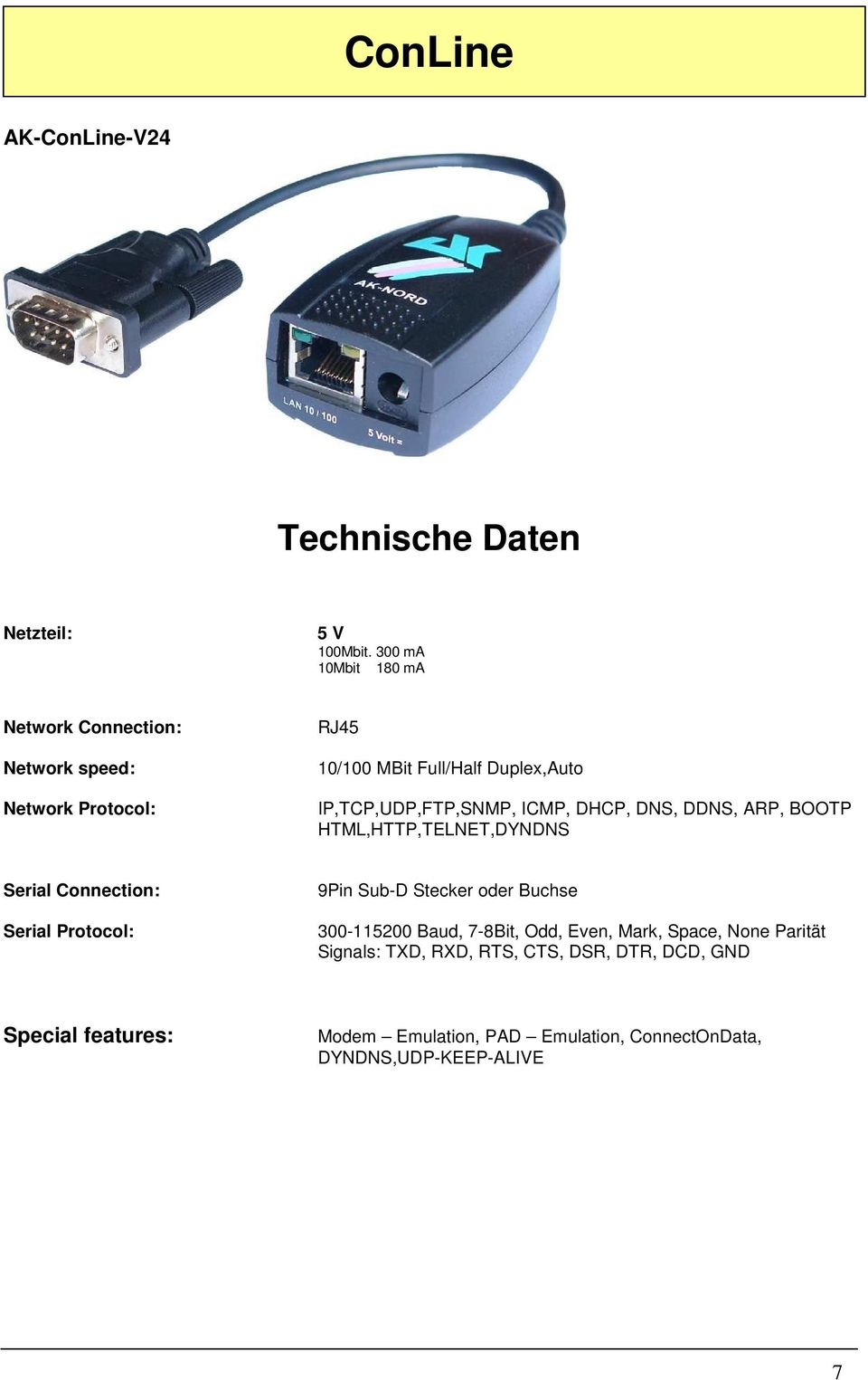IP,TCP,UDP,FTP,SNMP, ICMP, DHCP, DNS, DDNS, ARP, BOOTP HTML,HTTP,TELNET,DYNDNS Serial Connection: Serial Protocol: 9Pin Sub-D