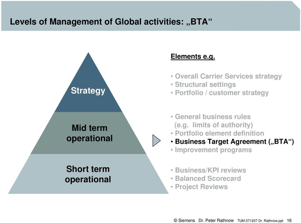 Strategy Overall Carrier Services strategy Structural settings Portfolio / customer strategy Mid term