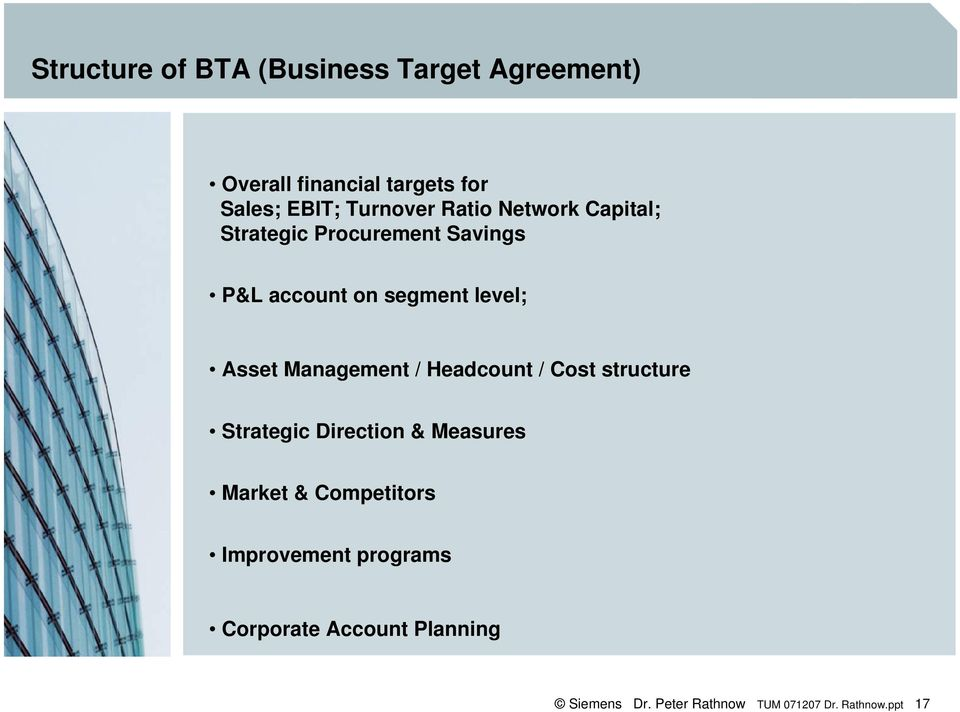 Asset Management / Headcount / Cost structure Strategic Direction & Measures Market &