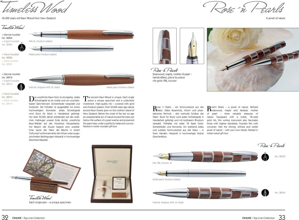 kingsize refill,, black etal parts rhodium plated Rosewood, maple, mother of pearl handcrafted, piece by piece nib gold 18K, bicolor + French booklet No. 38914 + Italian booklet No.