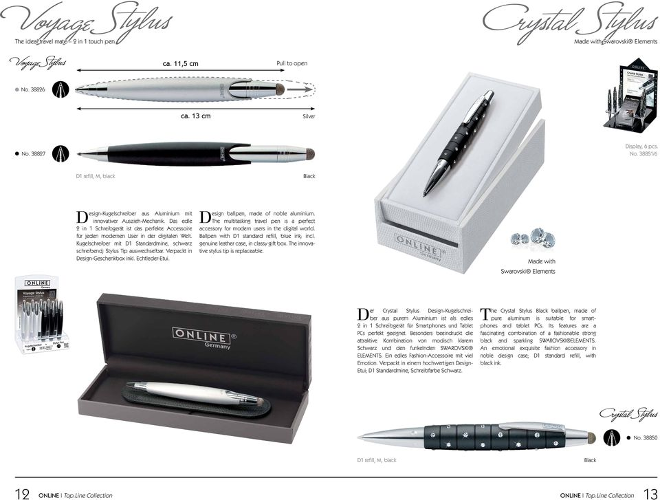 Verpackt in Design-Geschenkbox inkl. Echtleder-Etui. Design ballpen, made of noble aluminium. The multitasking travel pen is a perfect accessory for modern users in the digital world.