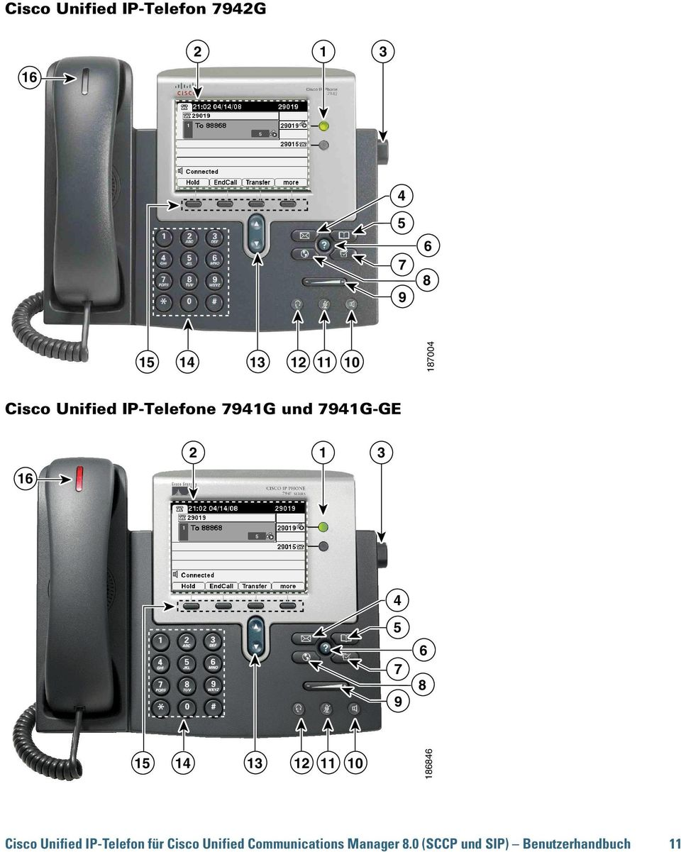 5 7 9 6 8 15 14 13 12 11 10 186846 Cisco Unified IP-Telefon für