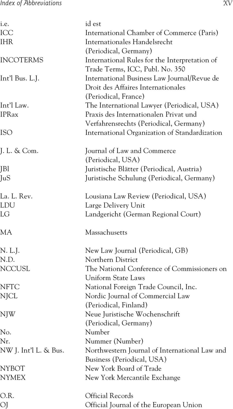 350 International Business Law Journal/Revue de Droit des Affaires Internationales (Periodical, France) The International Lawyer (Periodical, USA) Praxis des Internationalen Privat und
