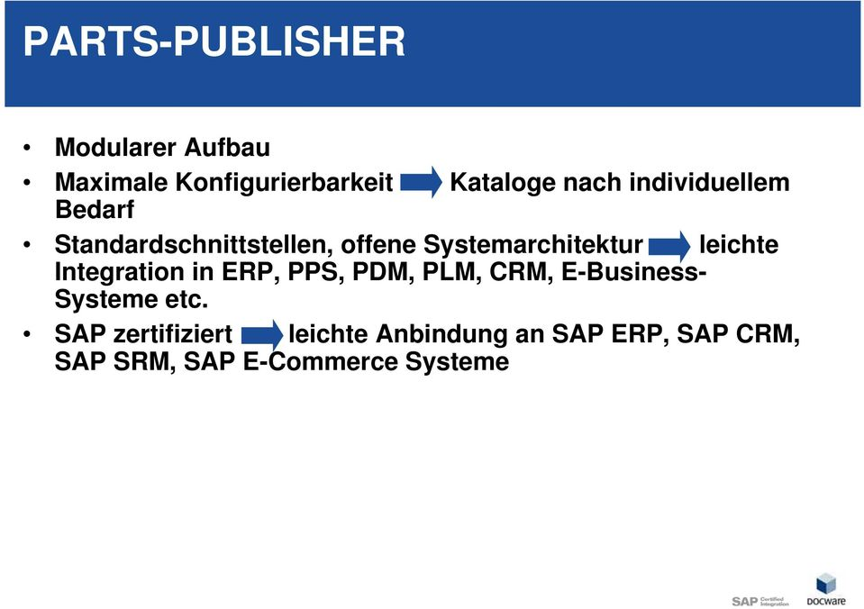 leichte Integration in ERP, PPS, PDM, PLM, CRM, E-Business- Systeme etc.