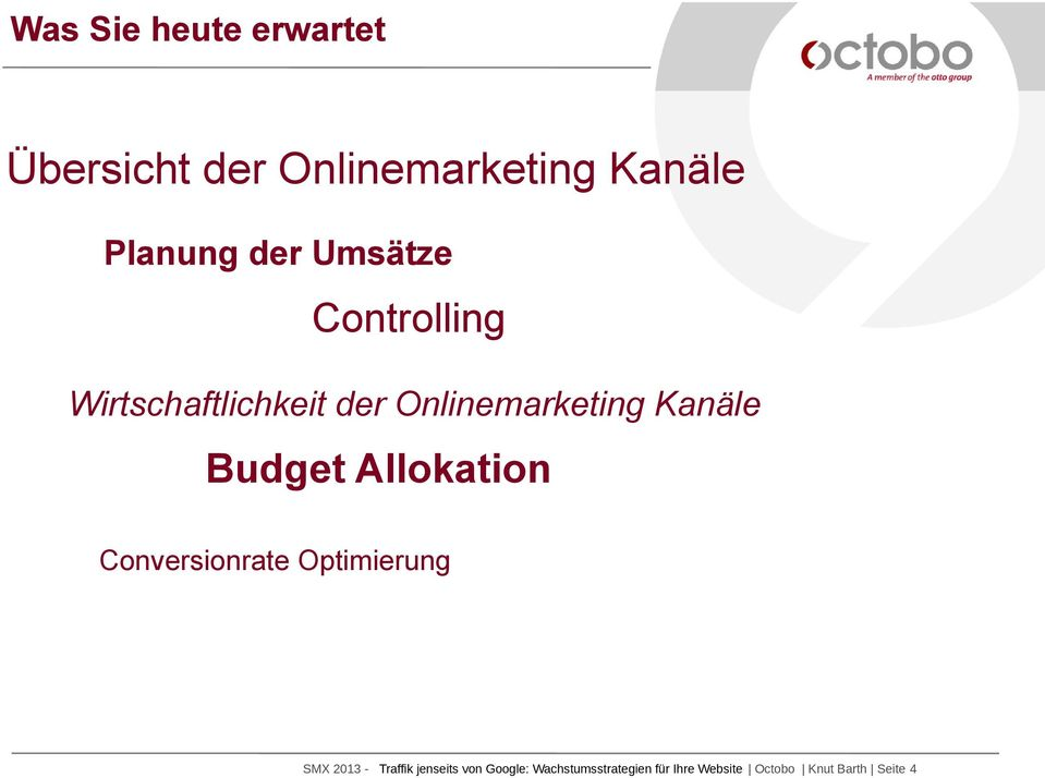 Budget Allokation Conversionrate Optimierung SMX 2013 - Traffik
