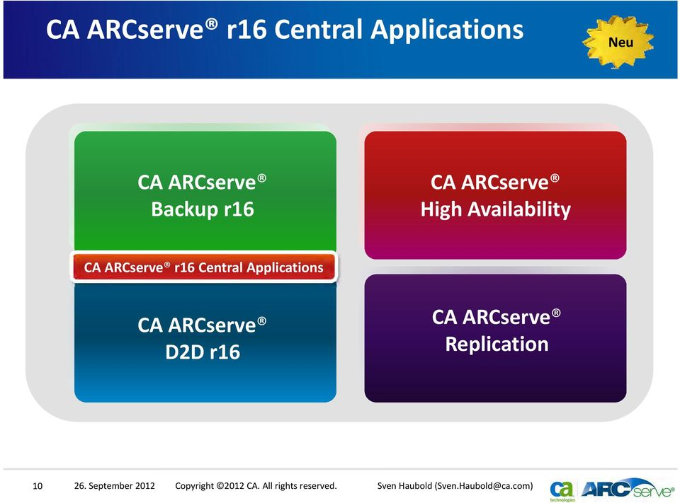 Availability CA ARCserve r16 Central Applications Schnelle