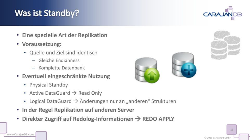 Standby Active DataGuard Read Only Logical DataGuard Änderungen nur an anderen