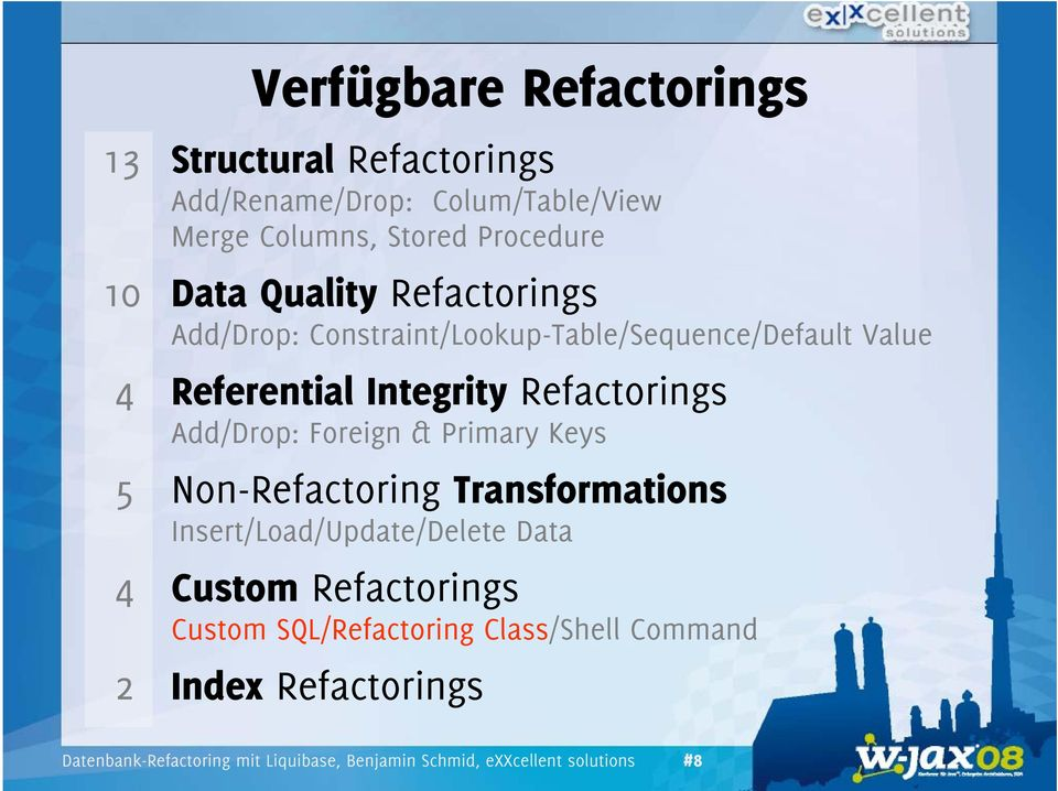 Foreign & Primary Keys 5 Non-Refactoring Transformations Insert/Load/Update/Delete Data 4 Custom Refactorings Custom