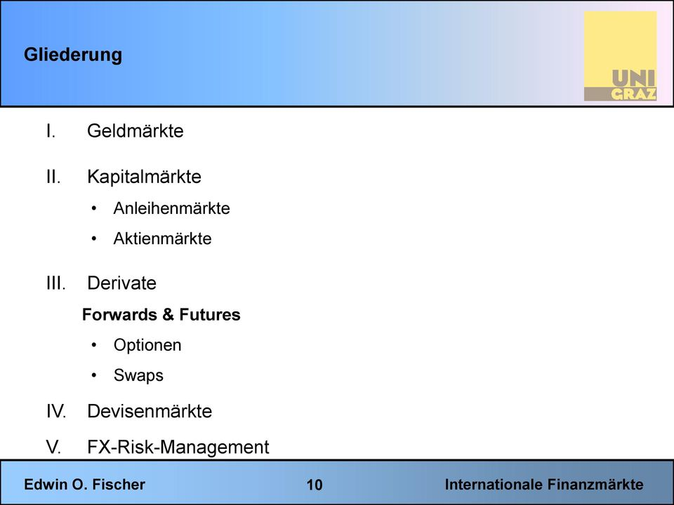 Aktienmärkte Derivate Forwards & Futures