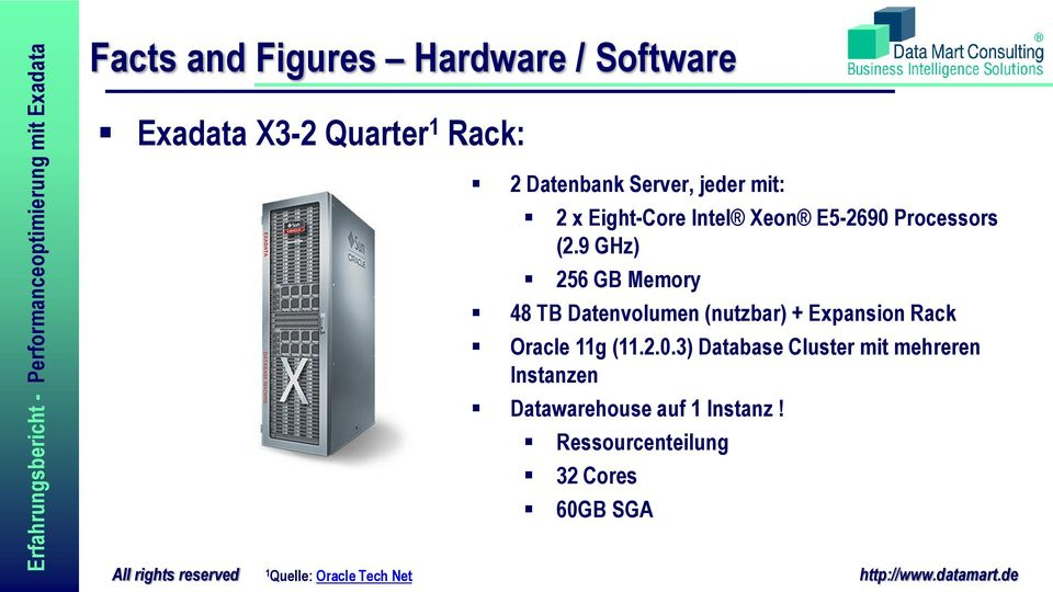 9 GHz) 256 GB Memory 48 TB Datenvolumen (nutzbar) + Expansion Rack Oracle 11g (11.2.0.