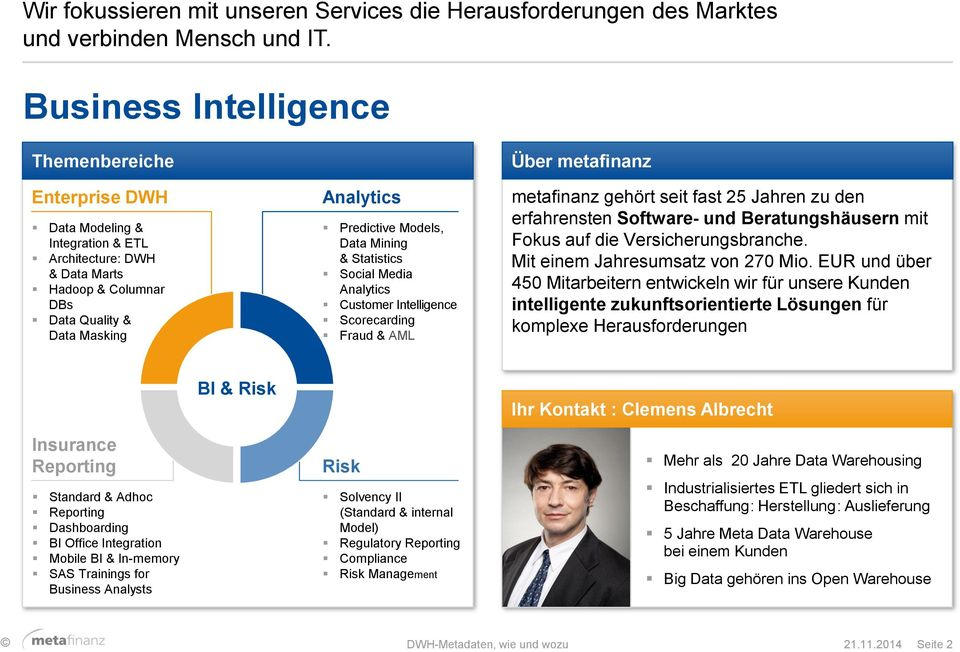 Data Mining & Statistics Social Media Analytics Customer Intelligence Scorecarding Fraud & AML Über metafinanz metafinanz gehört seit fast 25 Jahren zu den erfahrensten Software- und Beratungshäusern