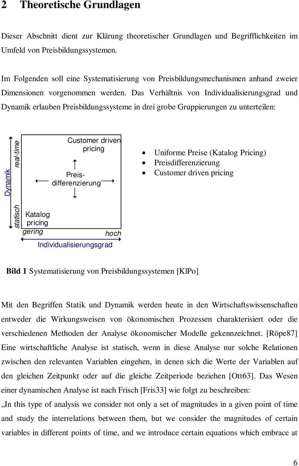 Das Verhältnis von Individualisierungsgrad und Dynamik erlauben Preisbildungssysteme in drei grobe Gruppierungen zu unterteilen: Dynamik statisch real-time Katalog pricing gering Customer driven