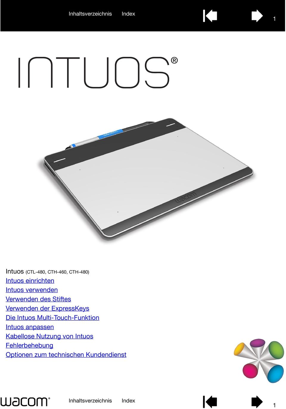 Intuos Multi-Touch-Funktion Intuos anpassen Kabellose Nutzung