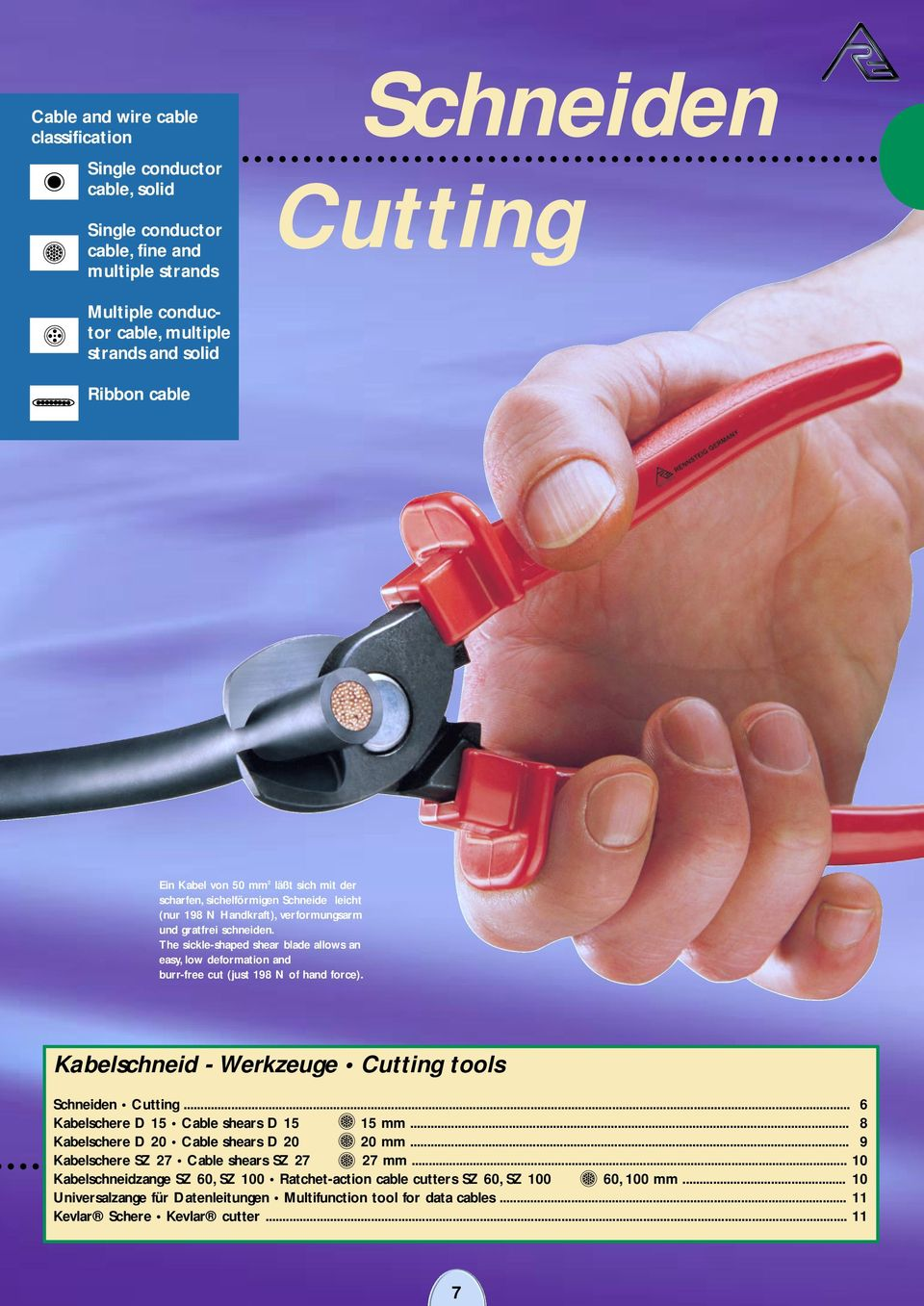 The sickle-shaped shear blade allows an easy, low deformation and burr-free cut (just 198 N of hand force). Kabelschneid - Werkzeuge Cutting tools Schneiden Cutting.
