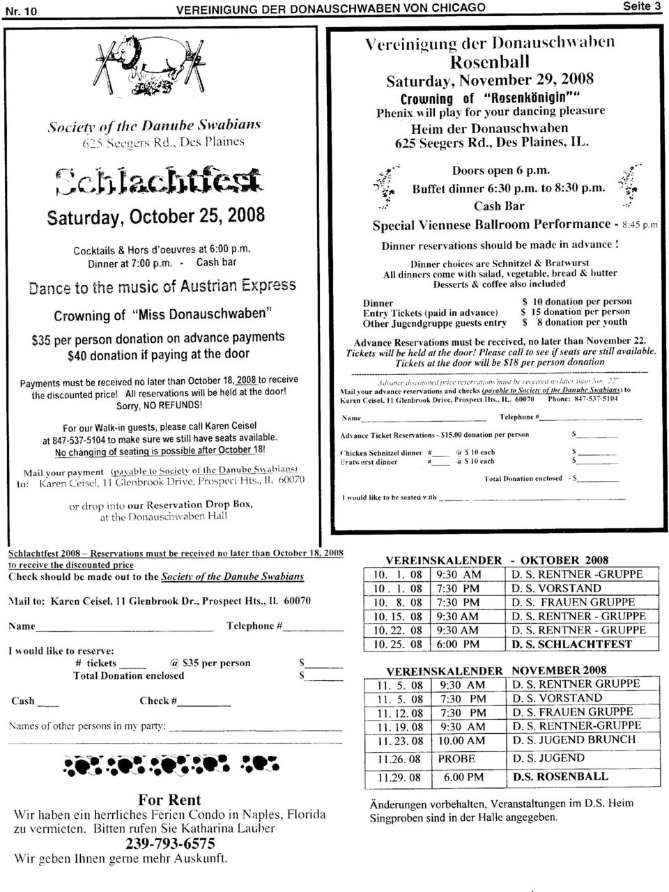 "$35 pel"" person donation advance payments $40 donation if Paying at the door Payments must be received no later than october 18, 2008 to receive ih. di*.ornted price!"
